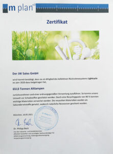 Zertifikat Altglas Recycling JW Sales GmbH